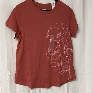 Coral w/ White Flower Outline SS Tee
